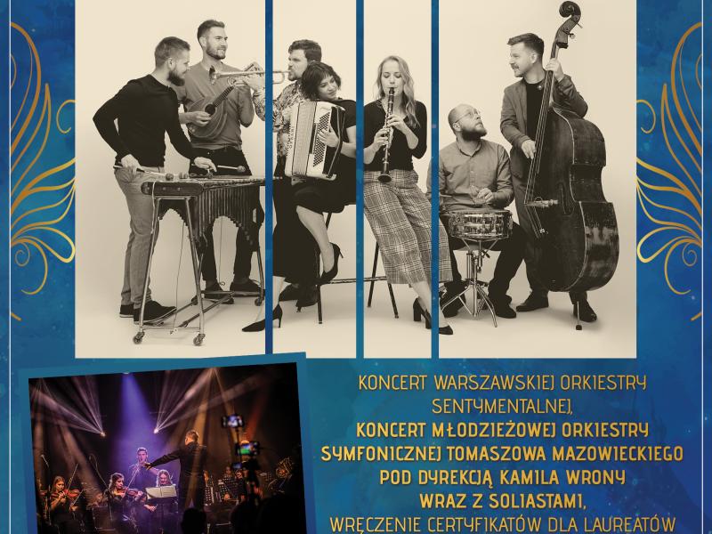 Plakat: granatowe tło, zdjęcie czarno-białe warszawskiej orkiestry kameralnej i kolorwe młodzieżowej orkiestry Tomaszowa, złote i białe napisy z informacjami o koncercie