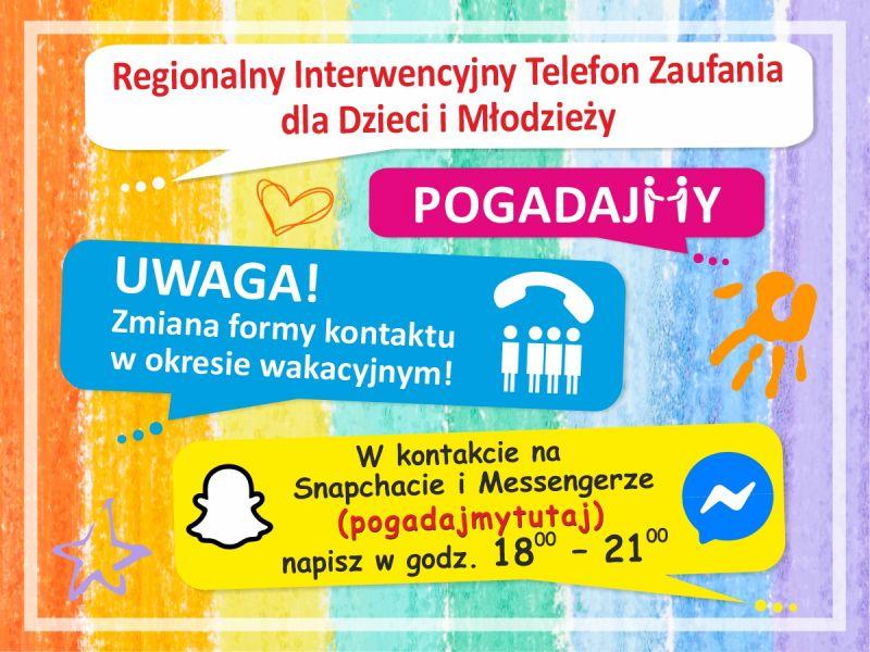 Na zdjęciu baner Regionalnego Telefonu Zaufania informujący o zmianie jego funkcjonowania