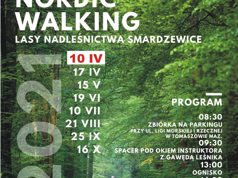 Na zdjęciu plakat Rajdu Patyczaków Nolrdic Walking. Na plakacie ścieżka w lesie, na ścieżce maszeruje starszy pan z kijkami