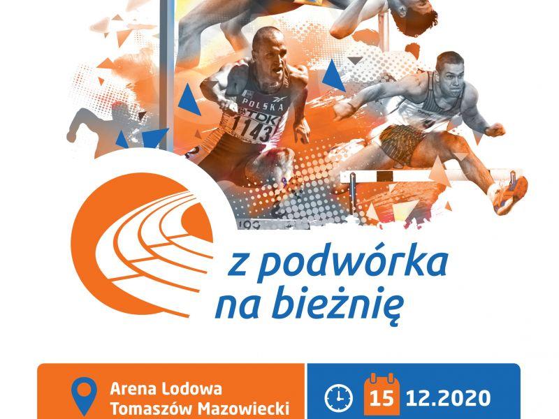 Na plakacie sylwetki lekkoatletów, zawodników w biegu przez płotki i skoku wzwyż