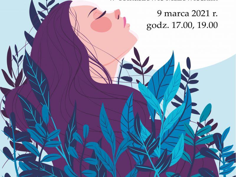 grafika przedstawiająca twarz kobiety z fioletowymi włosami w niebieskich gałązkach
