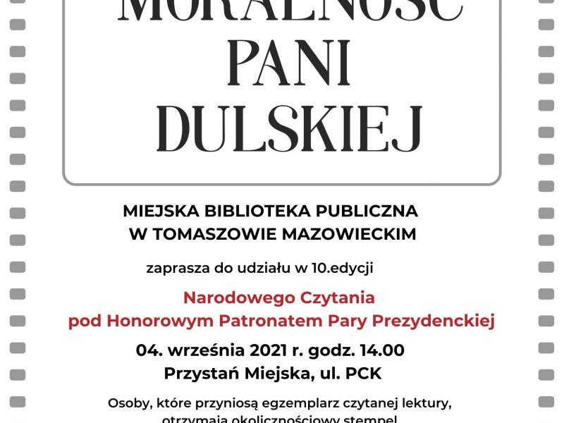 Na zdjęciu plakat Narodowego Czytania, edycja 2021. Na plakacie informacje tekstowe i loga