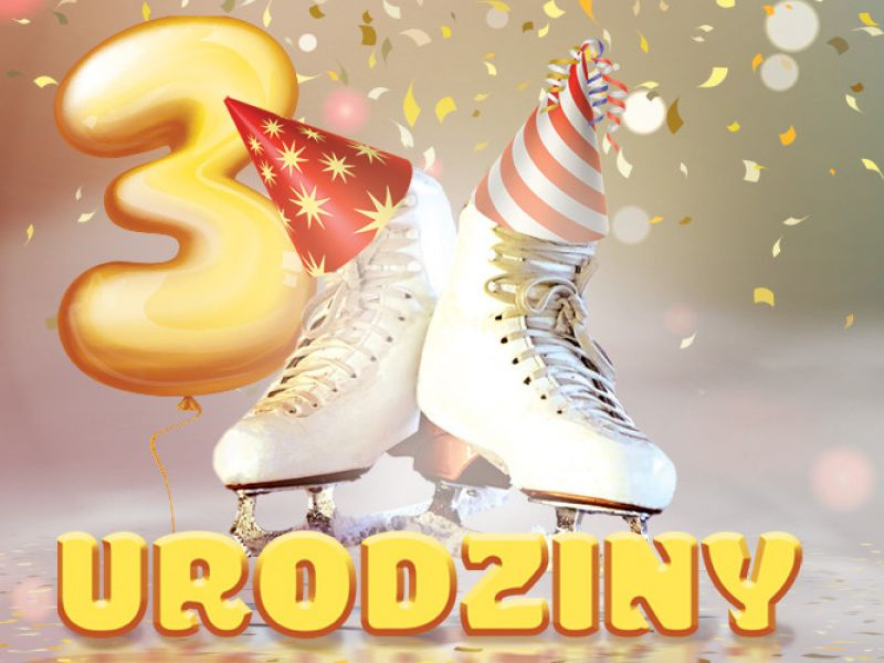 Na zdjęciu baner poświęcony trzecim urodzinom Areny Lodowej w Tomaszowie Mazowieckim. Na fotografii para łyżew przyozdobiona lampionami, confetti i liczba