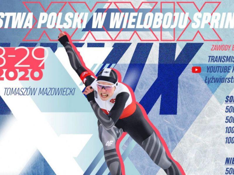 Na zdjęciu baner Mistrzostw Polski w Wieloboju Sprinterskim. Na banerze postać łyżwiarki w trakcie biegu łyzwiarskiefgo oraz stosowne informacje o miejscu i godzinie mistrzostw