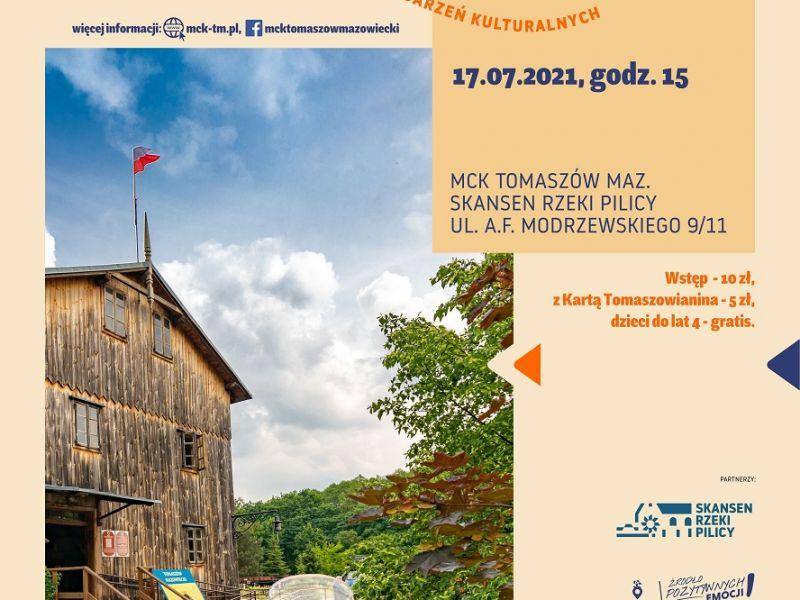 Na zdjęciu baner imprezy Słodka Sobota w Skansenie. na banerze zdjęcie Skansenu na pierwszym planie słoiki z miodem