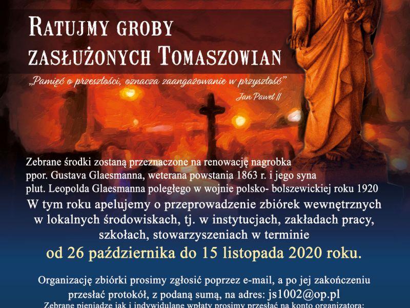 Na zdjęciu plakat informujący o XXIII Kweście Cmentarnej. Na plakacie widać figurę madonny na nagrobku, w tle łuna zniczy i zarys krzyży