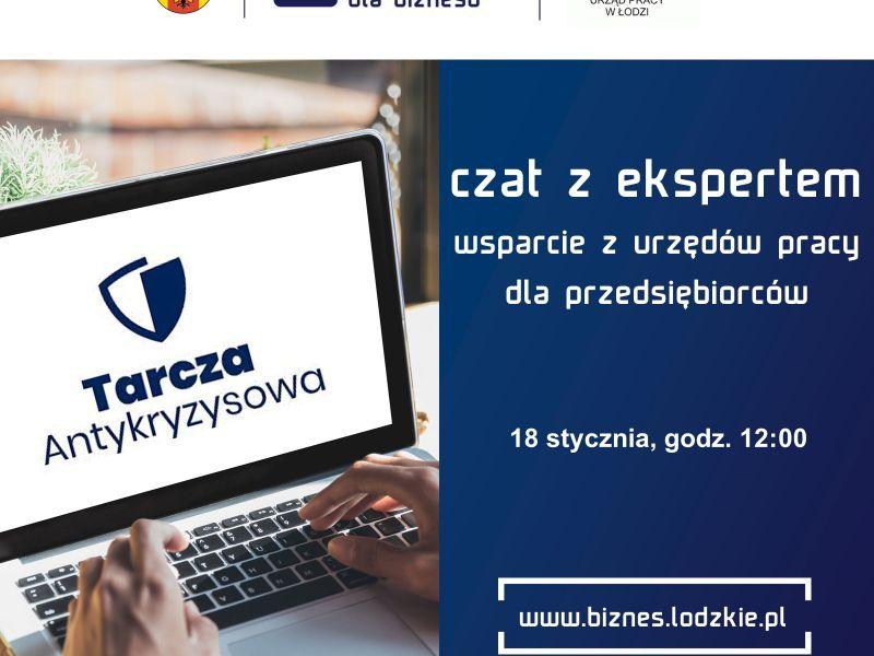 Na zdjęciu baner czatu z ekspertem na temat wsparcia z urzędów pracy dla przedsiębiorców. Na banerze laptop, na laptopie ręce na klawiaturze oraz informacja tekstowa o dacie i godzinie