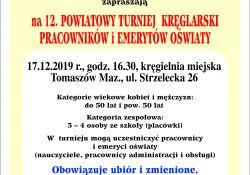 12. Powiatowy Turniej Kręglarski Pracowników i Emerytów Oświaty