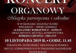 Koncert organowy muzyki patriorycznej i sakralnej