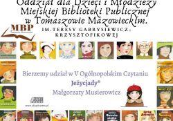 Na zdjęciu baner akcji V Ogólnopolskiego Czytania JEŻYCJADY. N banerze okładki ksiązek M. Musierowicz z serii